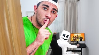 SPYING ON MARSHMELLO FOR 24 HOURS *I catch you playing Fortnite in real life*
