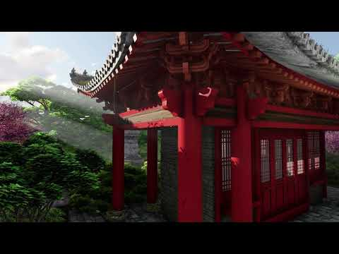( CGI 4k Stock Footage ) Japansese asian buddhist architecture temple zen garden 1