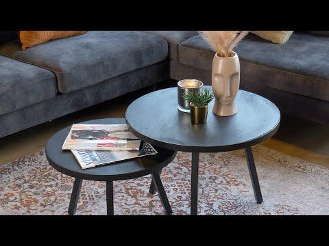 Industriële salontafel set Nico zwart mangohout (2 stuks)