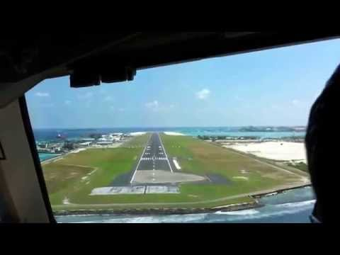 Landing from cockpit in  MALE airport (Maldives)