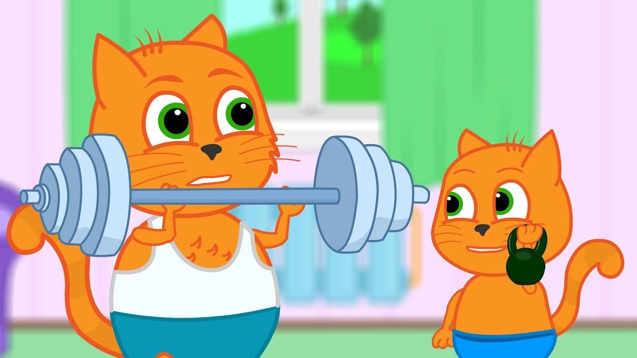 Familia de Gatos - Súper Familia Deportiva Dibujos animados para niños