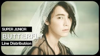 Super Junior 「BUTTERFLY」 Line Distribution | Color Coded Bars