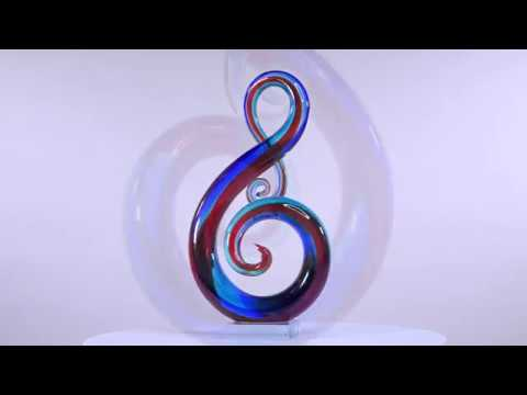 Tooarts Music Note Glass Sculpture Home Decor Abstract Ornament Gift Craft Decoration