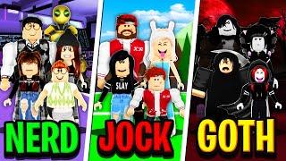 NERD FAMILY vs JOCK FAMILY vs GOTH FAMILY in Roblox Brookhaven RP!!