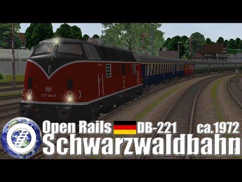 Open Rails train simulator - DB 221 @ Schwarzwaldbahn ca 1972
