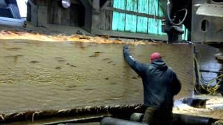 Hull - Oakes Lumber Company: Main Saw Cutting Huge Doug Fir Timber