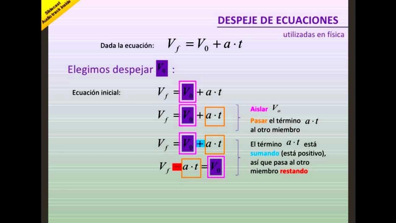 Amado Despeje básico de ecuaciones en física. - YouTube JK36