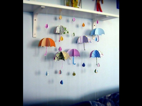 DIY Paper Crafts for Kids - How to Make Simple Umbrella for your kids + Tutorial .