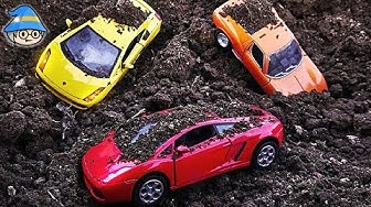 Car toy play dirt. Finding a car in the dirt. Learning Color by Car Playing outdoors.