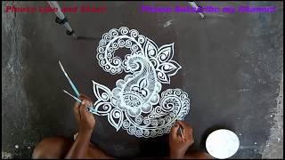 kolam with brush/muggulu designs/katha stich design art/easy alpana  designs/rangoli designs