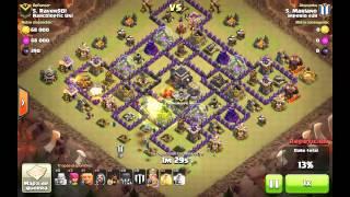 Clash of Clans 100% a TH9 al máximo - 3 estrellas sin reina - GoHog Attack without Queen