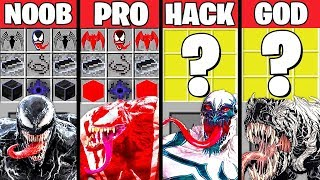 Minecraft Battle: VENOM MONSTER MUTANT CRAFTING CHALLENGE - NOOB vs PRO vs HACKER vs GOD ~ Animation