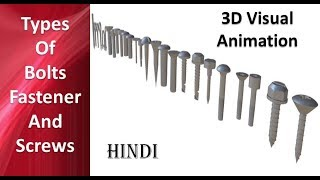 Types of Bolts, Fastener and Screws in Hindi