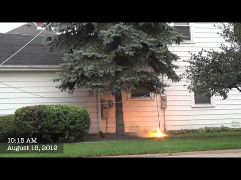 Power Line Down with Arcing and Fire: Threatens Home in Mount Prospect