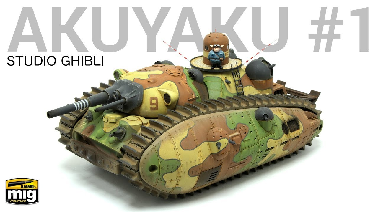 Scale Modeling Tutorial: 1/72 'Akuyaku #1' Tank, designed by Hayao Miyasaki  from Studio Ghibli!