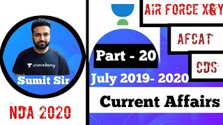 Current Affairs (2019-2020) Part 20 for NDA/CDS/AFCAT/RRB/Airforce/NAVY/CAPF