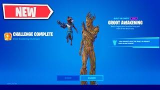 ALL Groot Awakening Challenges Guide in Fortnite - How to UNLOCK Battle Brother Rocket Backbling