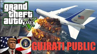 GTA :5 USA President Air Force One Plane Emergency Landing at Aircraft Carrier in GTA 5