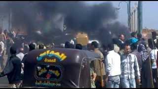 احتجاجات اهالى التل الكبير امام الكوبرى 1
