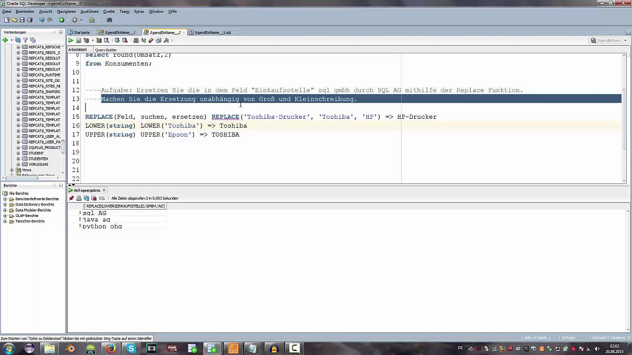 SQL Replace Funktion - SQL Tutorial #DEUTSCH/GERMAN - YouTube