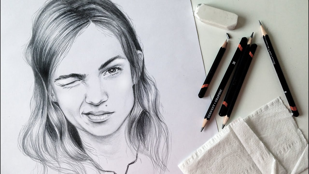 Drawing portrait with graphite pencil time lapse