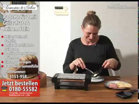 rosenstein s hne raclette f r 2 mit grillaufsatz hei em stein youtube. Black Bedroom Furniture Sets. Home Design Ideas