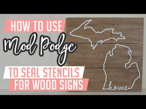 Mod Podge stenciling for wood signs