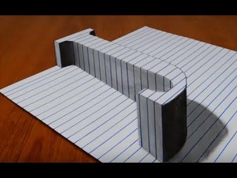 Draw a Letter J on Line Paper 3D Trick Art/  Vẽ một chữ J 3D trên trên giấy