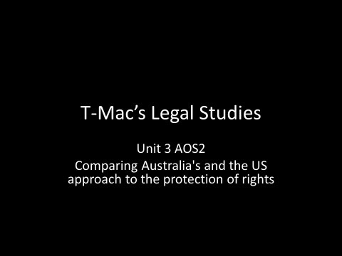VCE Legal Studies - Comparing Australia's and the US approach to the protection of rights