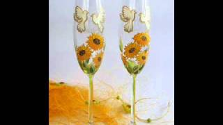 Hand painted wedding glasses ( Toasting flutes )