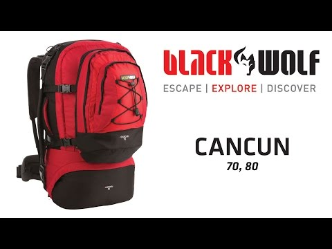 Black wolf Cancun 80L Travel Backpack /& Detachable Daypack Black