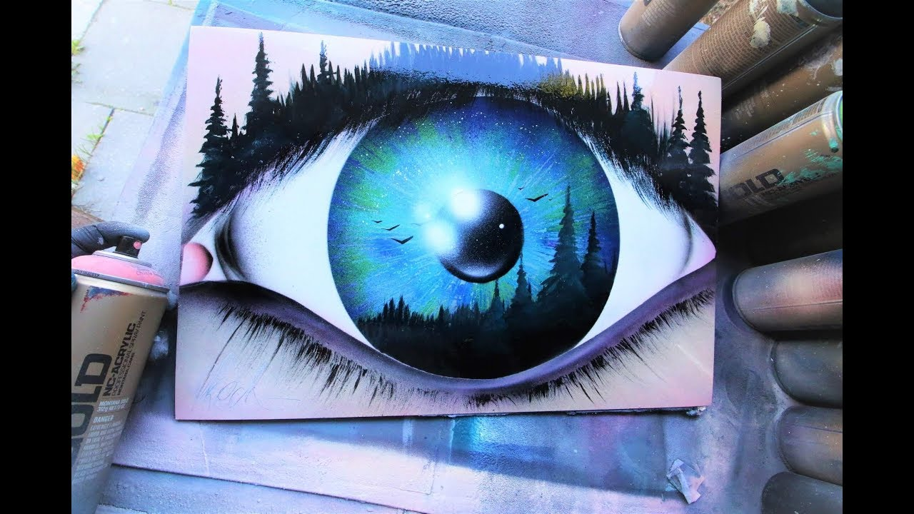 Eye of the Forrest - SPRAY PAINT ART by Skech - YouTube