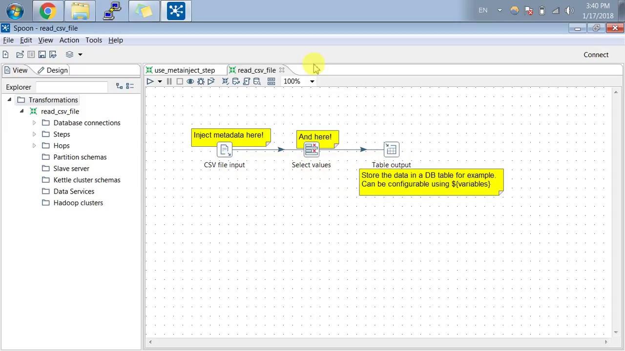 Pentaho Metadata Step - Basic example