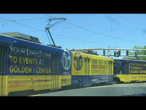 Sacramento Regional Transit 3-car train at Arden / Del Paso Light Rail