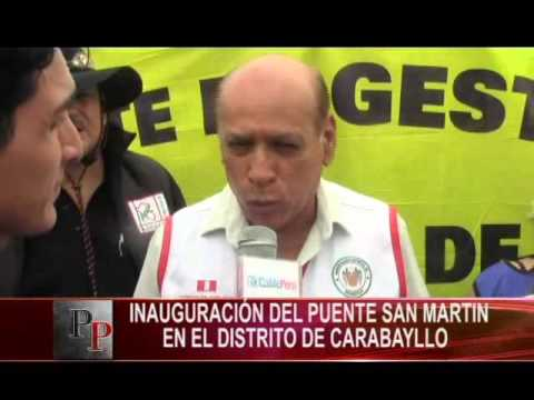 Inauguración del puente san martin en el distrito de carabayllo
