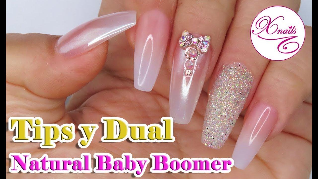 Uñas Natural Baby Boomer Con Tips Y Moldes Dual En Técnica Combinada Xnails