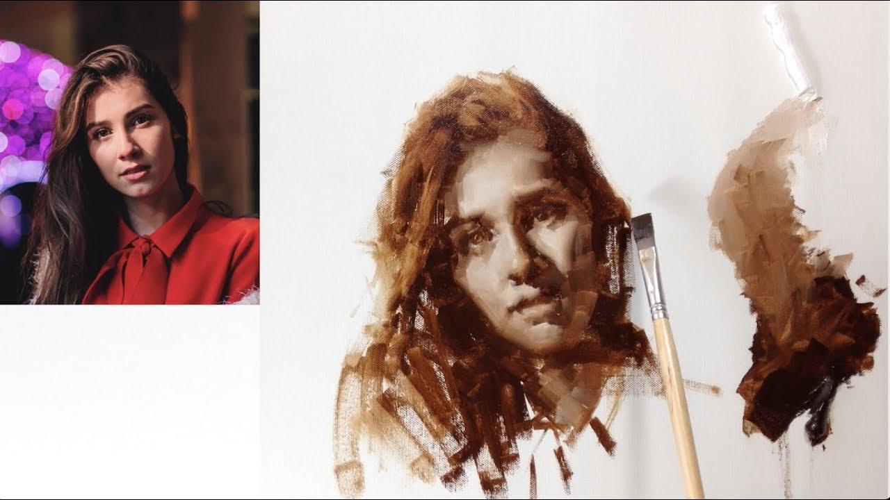 Oil Painting Demo: BROWN Impressionism Monochrome Portrait.