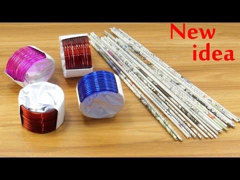 bangles &  Newspaper Craft Idea   DIY Home Decor   Newspaper & old bangles reuse idea