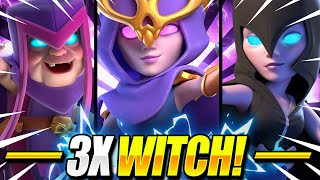 UNBELIEVABLE NEW TRIPLE WITCH DECK ACTUALLY WORKS in CLASH ROYALE!! 😱 Clash Royale Witch Deck