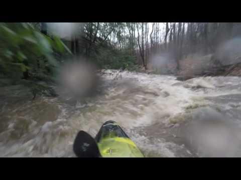 Kayaking Daugherty Run in West Virginia at high mark plus 3 inches