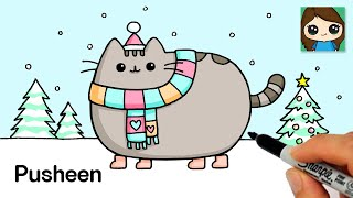 How to Draw Happy Winter | Pusheen Christmas