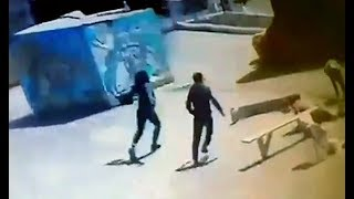 Inflatable trampoline blown away in Russia. Caught on camera