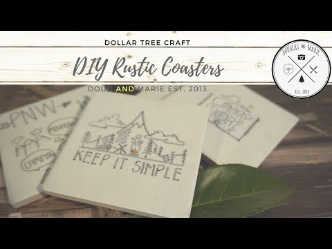 DOLLAR TREE DIY: RUSTIC COASTERS [Doug&Marie At Home]