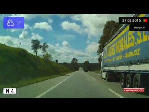 Driving through Alentejo (Portugal) from Elvas to Vendas Novas 27.02.2016 Timelapse x4