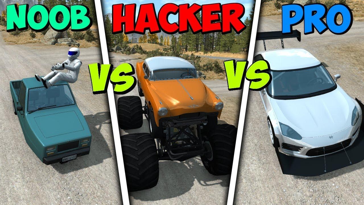 BeamNG Drive - NOOB vs PRO vs HACKER #7 (Crashes & Stunts)