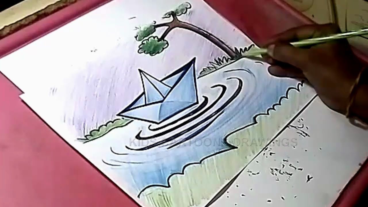 How to Draw Paper Boat and Water Drawing for Kids - YouTube