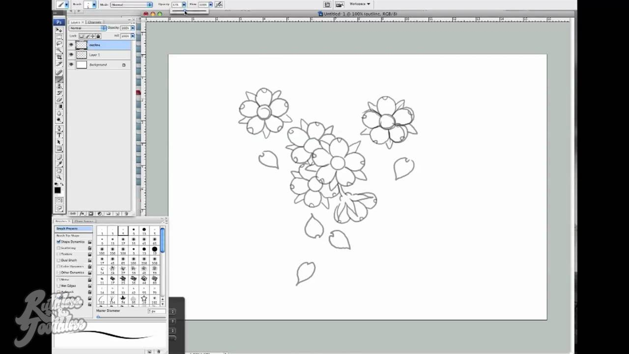 How To Draw  With Chris Garver From Miami Ink™  Cherry Blossom Part 1   Youtube