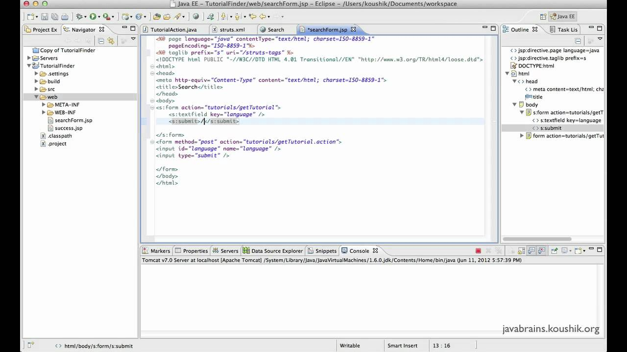 Struts 2 Tutorial 09 - Post requests to actions