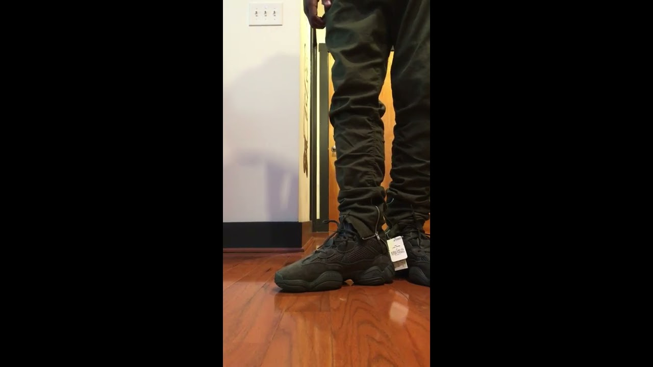"quality design 23d54 1b614 Yeezy 500 ""Utility Black"" on-foot"