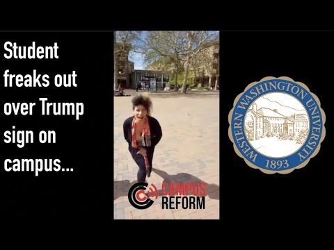 Student freaks out over Trump sign on campus